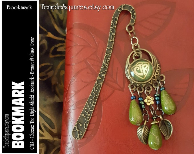 CTR Choose The Right Bookmark LDS Bronze Metal and Beads. Birthday Missionary Christmas Visiting Teaching Relief Society Jewelry Gift