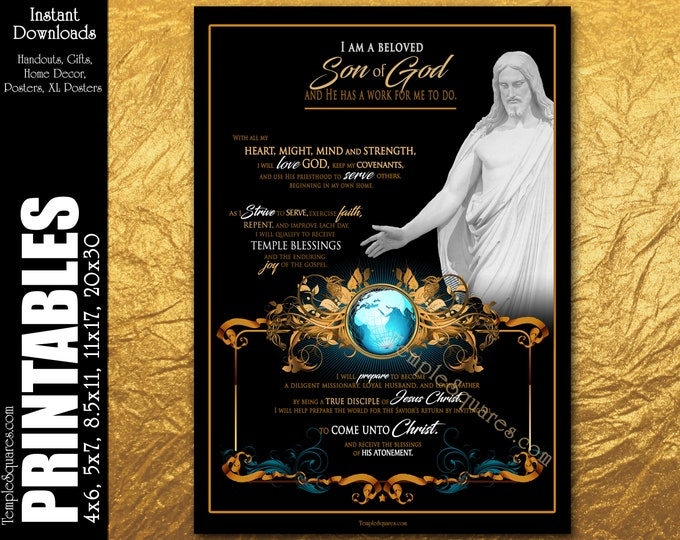 Beloved Son of God Printable Posters XXL size to handouts Young Men Theme for Church of Jesus Christ LDS Priesthood YM Primary Youth