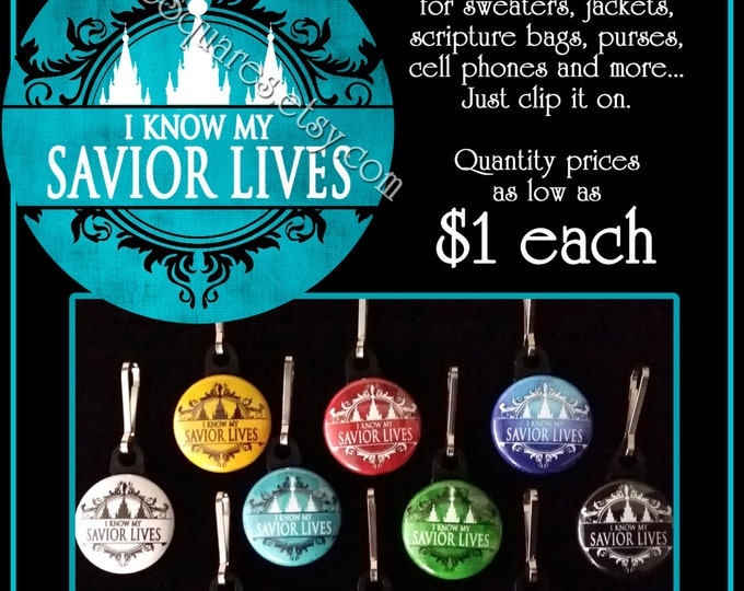 Zipper Pulls - I Know My Savior Lives - LDS Gifts - 2015 Primary Theme - Birthdays, Girls Camp, Missionaries Gifts YWYM Mutual Scripture Bag