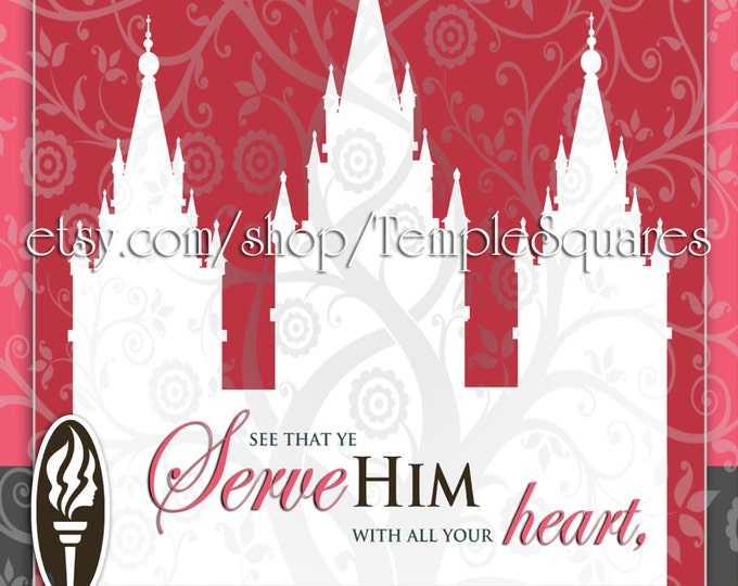 YW Printable LDS Temple Art in 3 sizes. Young Women 2015 Theme Embark Series Instant Download Digital Files