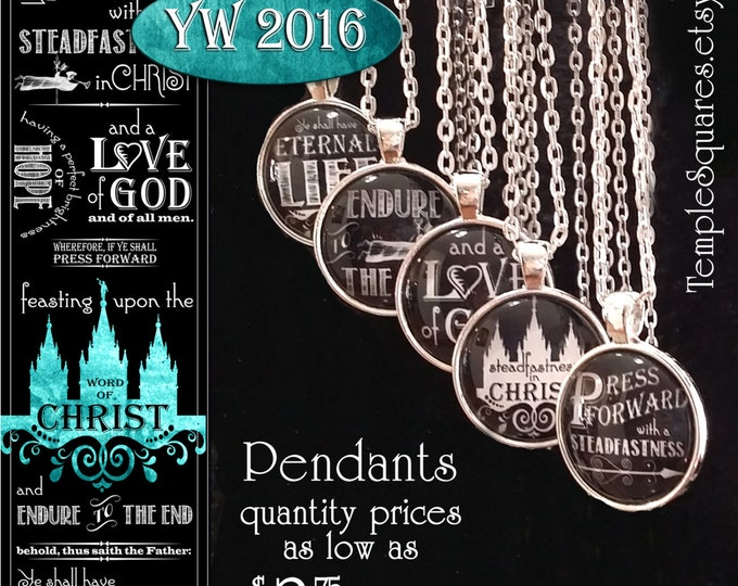 Press Forward Pendant Necklaces YW  Relief Society or missionary gifts. Mutual Mormon New Beginnings Girls Camp YWIE Birthday Jewelry