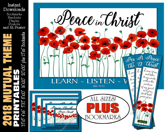 2018 Mutual Theme LDS YW Peace in Christ Peace in me D&C 19:23 Printable Posters Handouts Bookmarks Instant Download Digital Collage Poppies