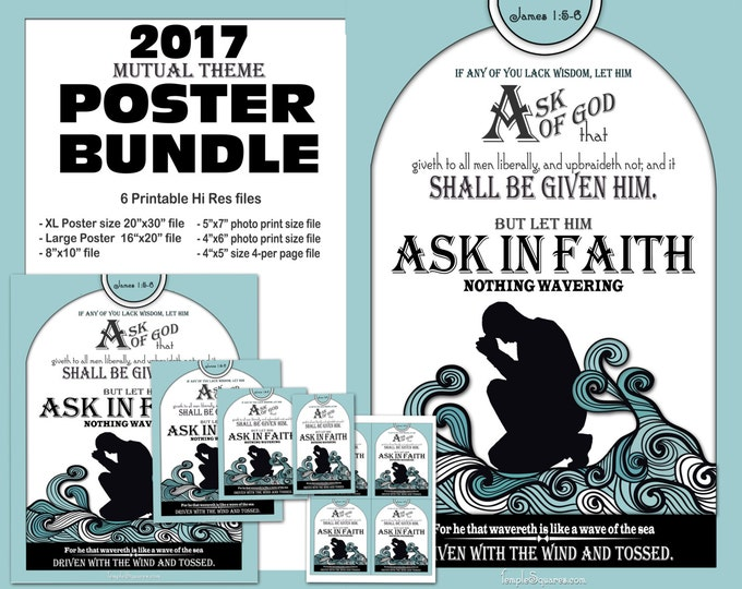 Mutual Theme Printable Poster Handout Bundle Ask of God Ask in Faith James 1:5-6 YW Young Women Presidency