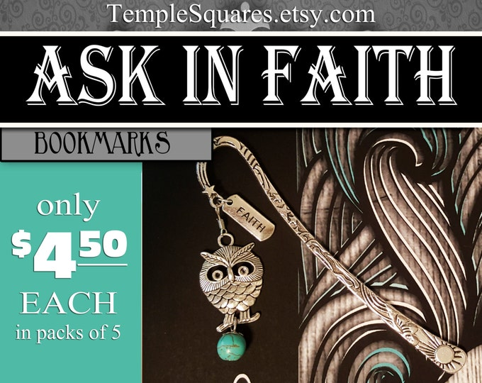 YW Ask of God Ask in Faith Bookmark Silver Charms Turquoise James 1:5-6 mutual theme young women gift birthday christmas new beginnings
