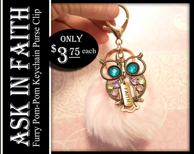 YW Ask of God Ask in Faith Owl Charms and Furry Keychain Young Women Gifts Purse Clip or Zipper Pull