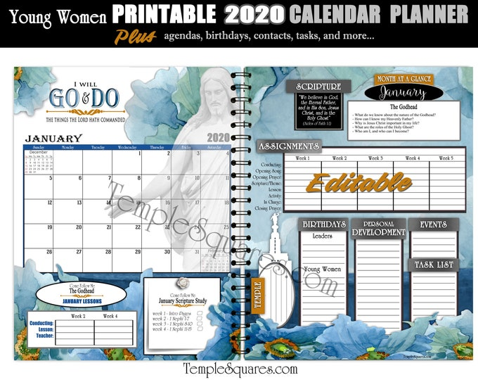 Editable PDF YW Presidency Calendar Planner Agendas Cover 2020 Mutual Theme Go and Do 1 Nephi 3:7 Printable Bundle with Scripture poster LDS