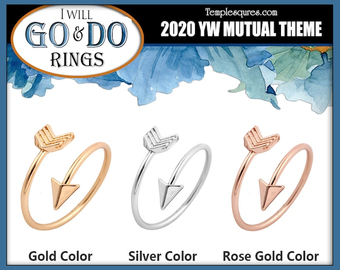 Arrow Adjustable Rings YW 2020 Youth Theme Go and Do 1 Nephi 3:7 Come Follow Me Young Women New Beginnings Missionary Relief Society Primary