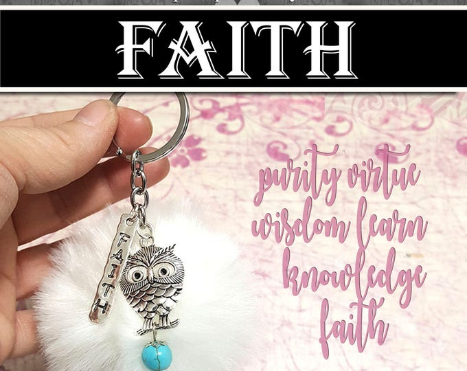 Furry Keychain with Faith and Owl Charms Faith YW Jewelry Charms Gifts 2018 Young Women  Charm Girls Camp Wholesale