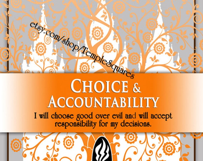 """Printable - 3 sizes! LDS Young Women Personal Progress Values """"Choice & Accountability"""" Art 2014 Instant Download Digital Files"""