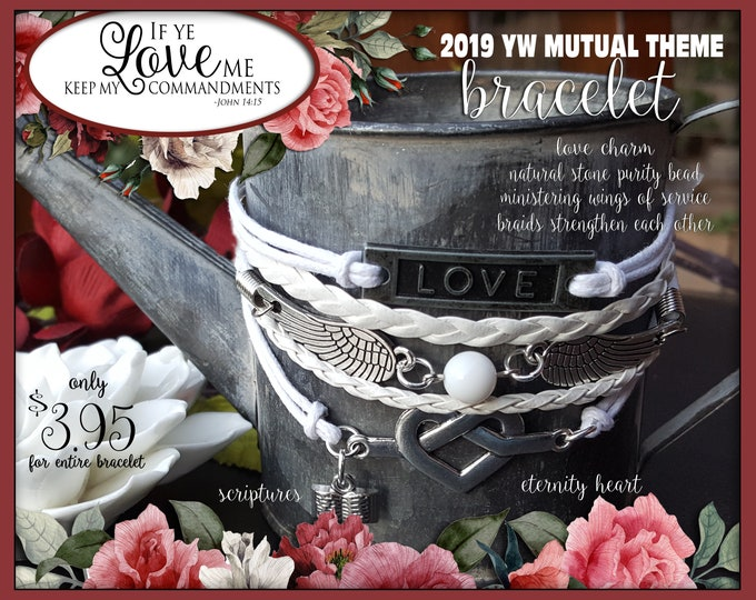 Multi strand charm Bracelet - If Ye Love Me Keep My Commandments YW 2019 Young Women LDS Jewelry New Beginnings gifts, birthday gift,  YWIE