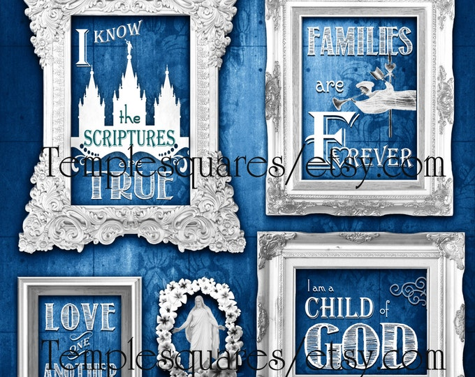 Printable LARGE poster sizes LDS 2016 primary theme I Know the Scriptures Are True Art bundle Blue vintage chalkboard subway art grunge