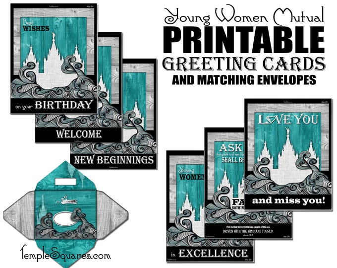 PRINTABLE Invites Cards Thank You, We Miss You, Happy Birthday, New Beginnings, YWIE, Welcome, Invitations Matching Envelopes for YW mutual