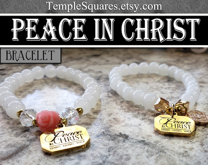 YW 2018 Peace In Christ Charm Bracelets Natural Stone and Crystal Beads Young Women Jewelry Charms gifts, birthday gift missionary jewelry