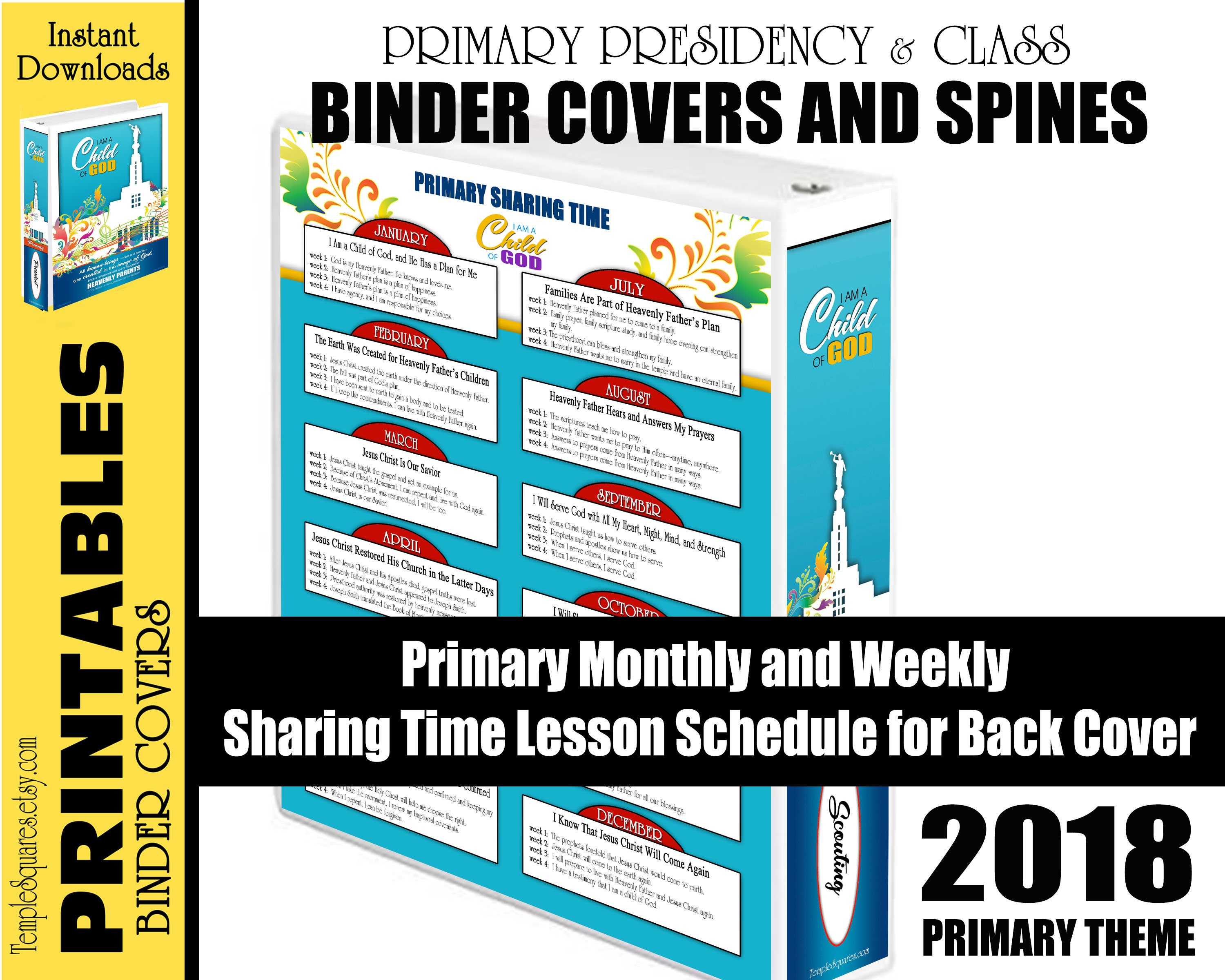 2018 primary printable binder covers for presidency and teachers