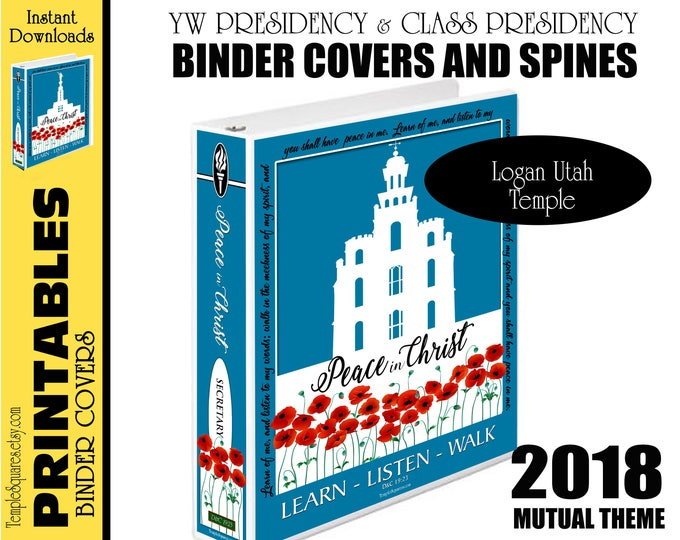 Printable YW Presidency and Class Presidencies Binder Covers Logan Utah Temple Silhouette 2018 Mutual Peace in Christ for Calendar Planners