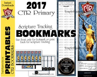 Printable CTR 2017 Primary Bookmark Choose The Right Scripture Tracker - Bookmark on Front - Track your scripture reading on back.