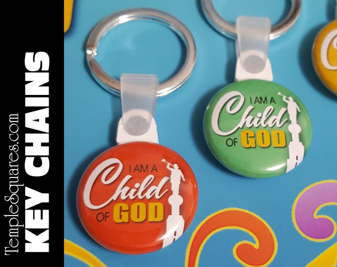 Key Chains Fob I Am A Child Of God LDS Gifts - 2018 Primary Theme - Birthdays Baptism Great to be Eight Missionaries Gifts YW Scripture Bag