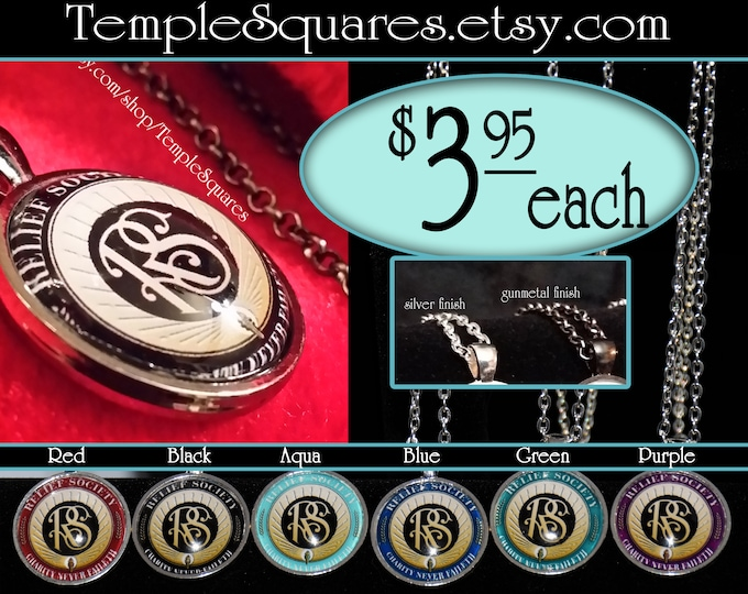 Jewelry Relief Society Emblem Pendant Necklace LDS Charity Never Faileth Presidency, Missionary or Visiting Teaching Gift