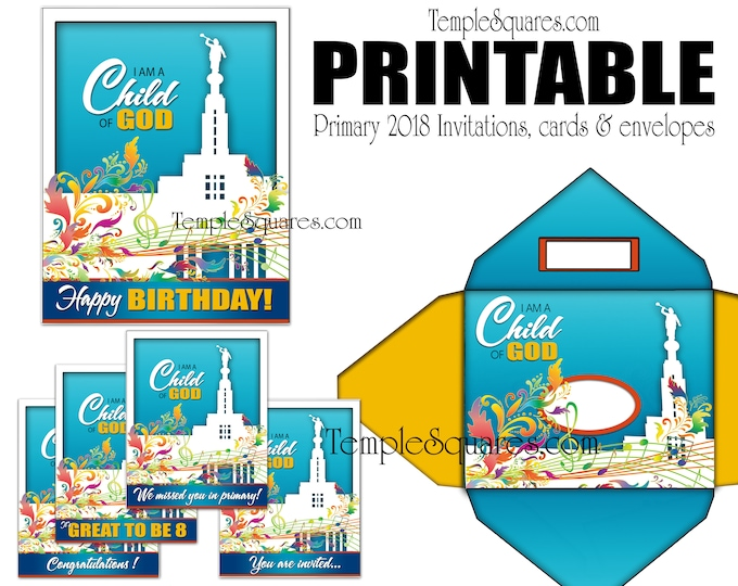 PRINTABLE Invites Cards Thank You, We Miss You, Happy Birthday, Great to be 8, Congratulations Invitation, plus matching Envelopes LDS craft