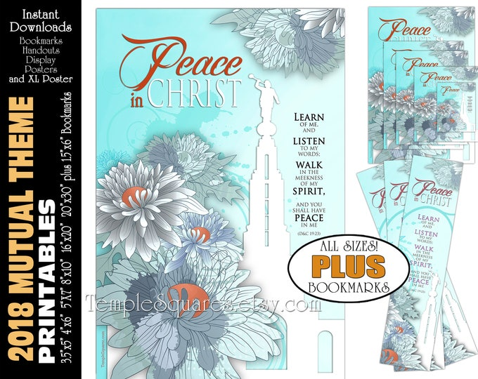 2018 Mutual Theme LDS YW Peace in Christ Peace in me D&C 19:23 Printable Posters Bookmarks Instant Download Redlands California Temple LDS