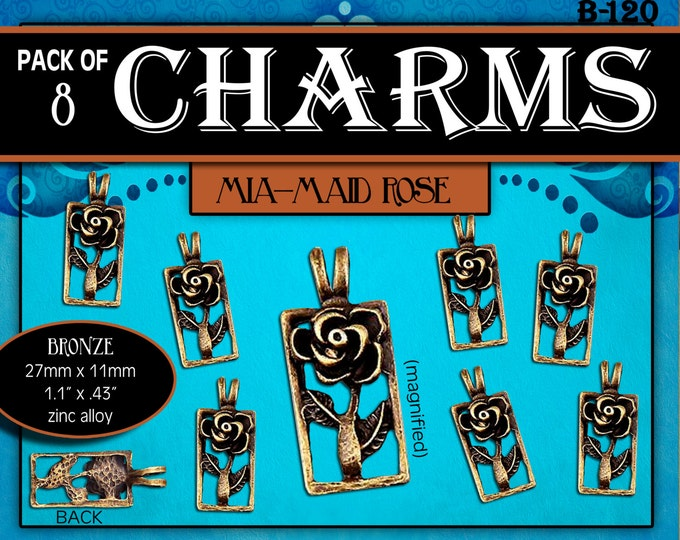 Charms - Pack of 8 - Mia-Maid Bronze Rose Symbol LDS Young Women YW Charm, Pendant, DIY Jewelry Supply, Girls Camp, Craft Activity