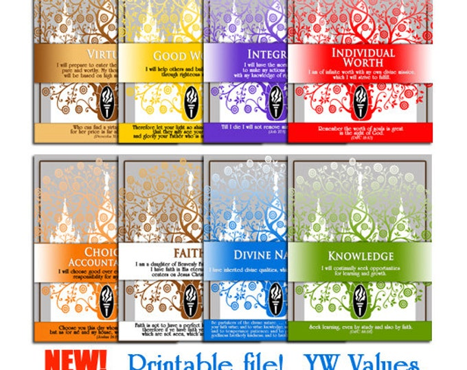 "Printable LDS YW Young Women Values Art Binder Page Dividers. Print 8 1/2""x 11"" Great as gifts or craft activities. Includes all 8 files."