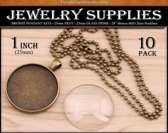DIY Jewelry Supplies Bronze Pendant Kits 25mm 1 inch Tray Glass and Ball Chain Necklace Craft Kit for YW Ask in Faith Activities