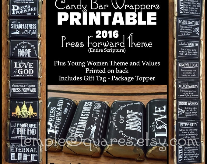 "PRINTABLE - New Beginnings Gifts. Mini Candy Bar Wrappers - YW ""Press Forward"" plus Personal Progress Young Women Values DIY Cute!"