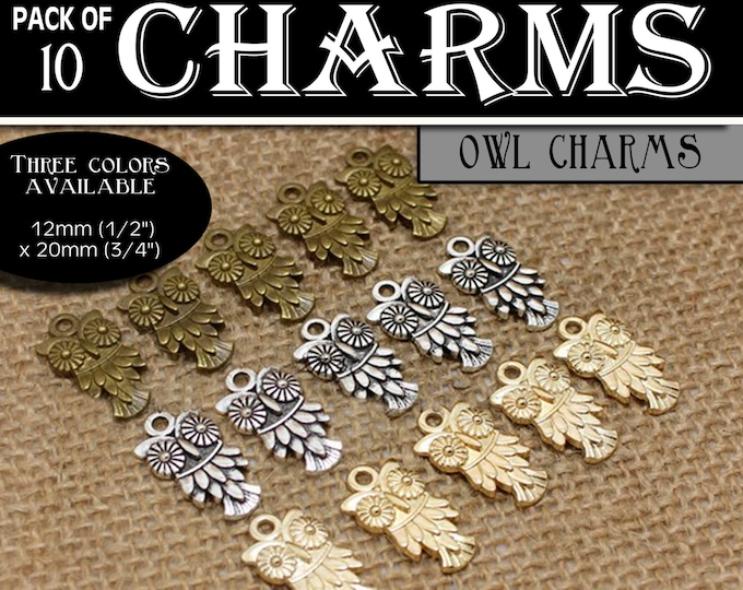 Owl Charms - YW Ask of God Ask in Faith Mutual Theme Pack of 10 Charms diy Jewelry Findings for Necklaces, Bracelets LDS Craft Supplies