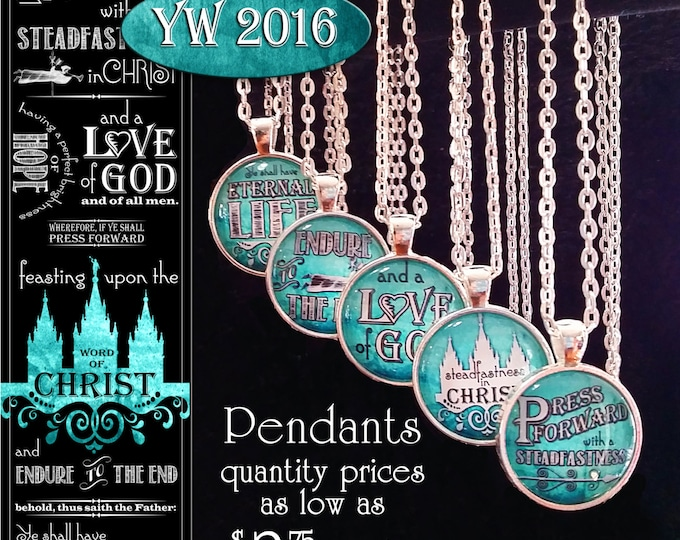 Press Forward Pendant Necklaces YW Young Women or missionary gifts 2016 theme. Mutual Mormon New Beginnings Girls Camp YWIE Birthday Jewelry