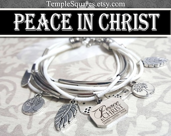 YW Peace In Christ Charm Bracelet Young Women White Jewelry Charms New Beginnings gifts, birthday gift missionary LDS jewelry Relief Society