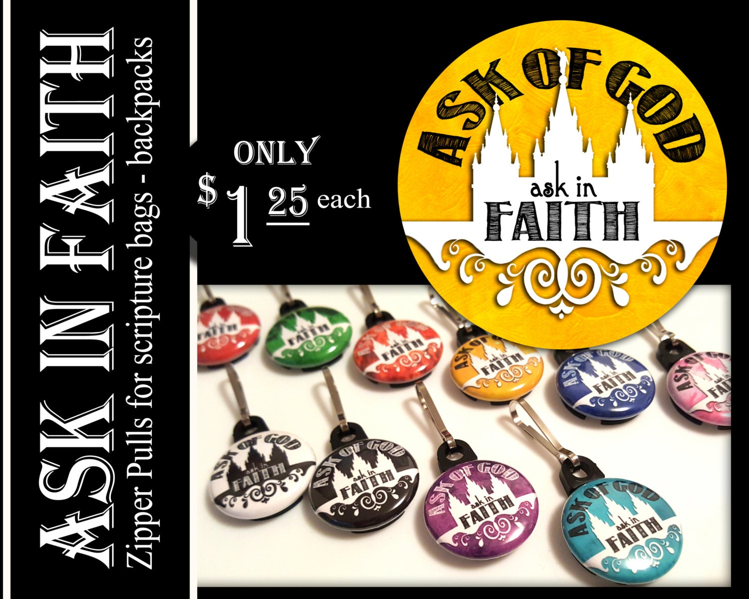 Zipper Pulls Ask of God Ask in Faith YW Mutual Theme Birthday ...
