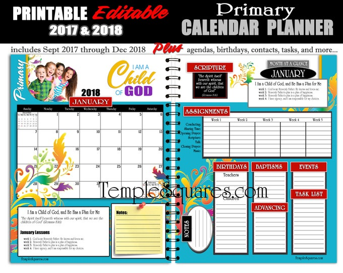 2018 Primary Presidency Calendar Planner LDS I Am A Child Of God Printable Editable  PDF Bundle Instant download planners schedules binder