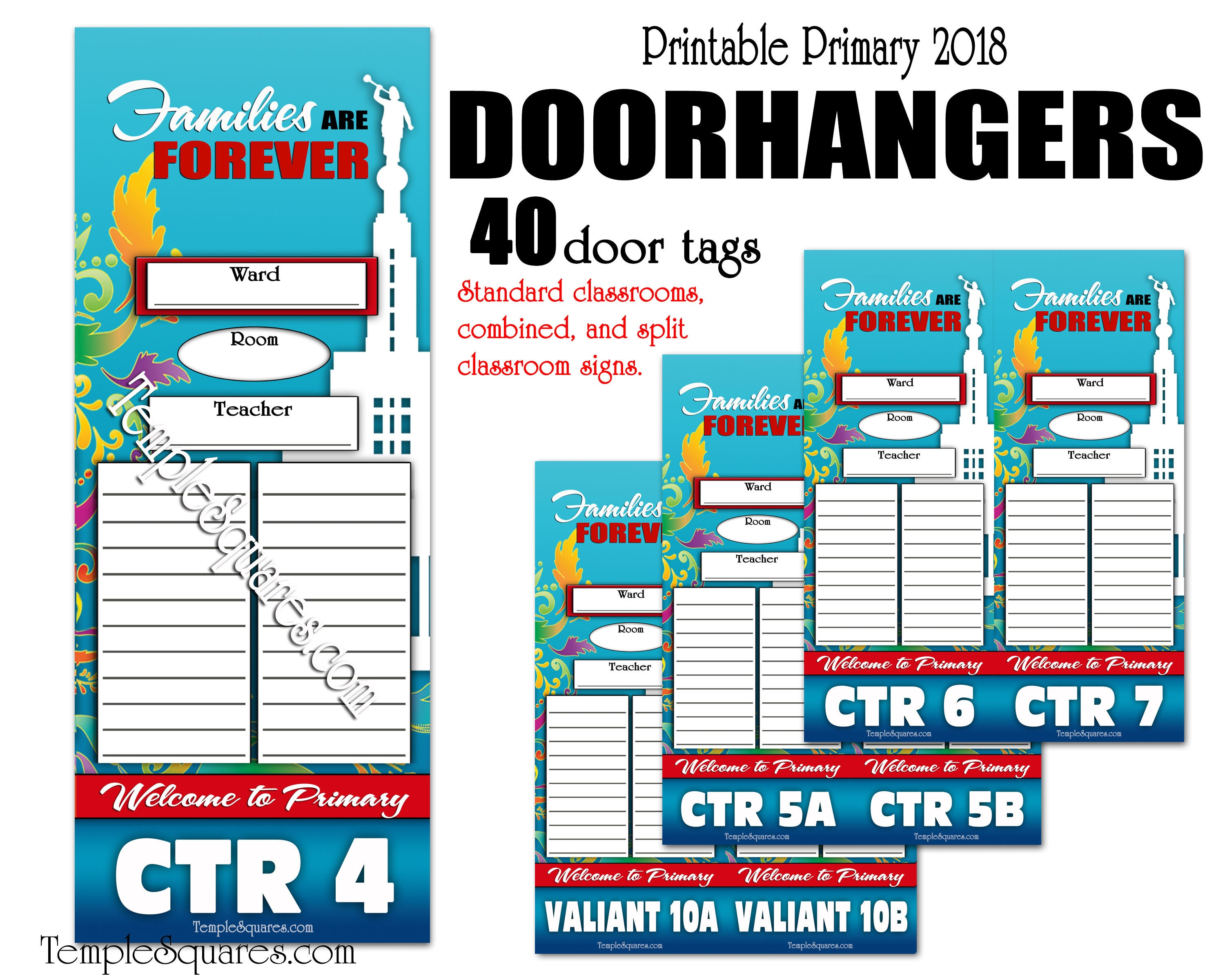 picture about Classroom Signs Printable called Basic Printable Editable PDF Doorway Hangers 2019 Concept