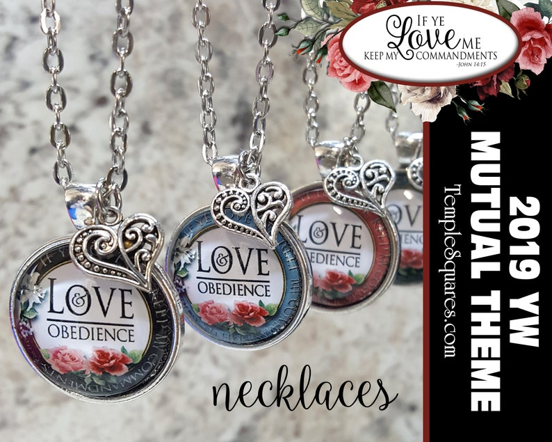 YW 2019 Mutual Theme Come Follow Me Love and Obedience If Ye Love Me Keep  My Commandments Glass Necklace Young Women, New Beginnings YWIE