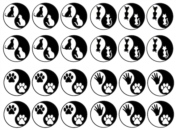 """Yin Yang African Animals 5/""""X7/"""" Card Black Fused Glass Decals 17CC887"""