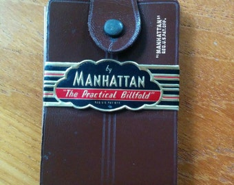 "Vintage Brown Leather Wallet ""The Practical Billfold"" by Manhattan"