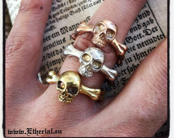 Etherial Jewelry - Rock Chic Talisman Luxury Biker Custom Handmade Artisan Pure Sterling Silver .925 Handcrafted Badass Skull band Ring