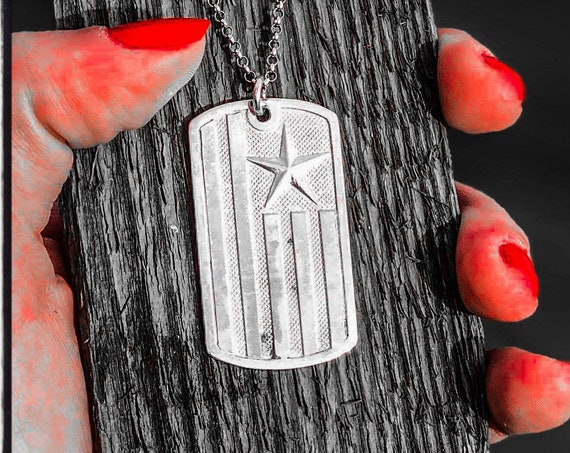 American Flag Dog Tag Texas Star Dog Tag Army Dog Tags by Etherial Jewelry handmade from Pure Sterling Silver 925 Luxury Pendants Jewelry