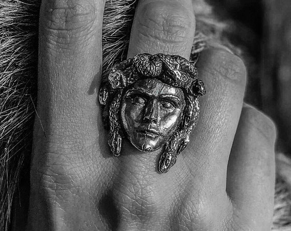Etherial Jewelry - Rock Chic Talisman Luxury Biker Custom Handmade Artisan Pure Sterling Silver .925 Gorgon Medusa Ring Greek Mythology Ring