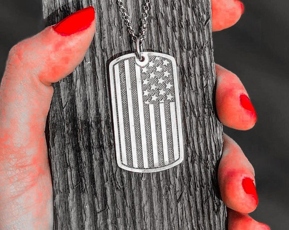 American Flag Pendant American Flag Dog Tag by Etherial Jewelry handmade from Pure Sterling Silver 925 Luxury Pendants Jewelry Accessories