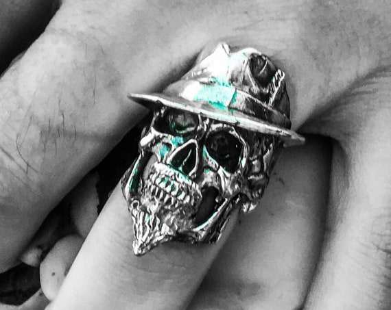 Etherial Jewelry - Rock Chic Talisman Luxury Biker Custom Handmade Artisan Pure Sterling Silver .925 Handcrafted Luxury Mafia Skull Ring