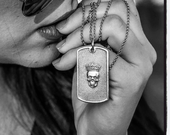 Skull Dog Tag Pendant Skull Pendant Necklace  by Etherial Jewelry made from Pure Sterling Silver 925 Luxury Pendants Jewelry and Accessories