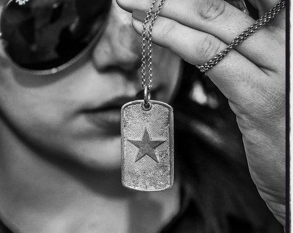 Star Dog Tag Texas Star Pendant Necklace American Dog Tag by Etherial Jewelry made from Pure Sterling Silver 925 Luxury Pendants Jewelry