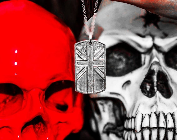 Union Jack Dog Tag British Flag Dog Tag Identity Tag by Etherial Jewelry handmade from Pure Sterling Silver 925 Luxury Pendants Jewelry