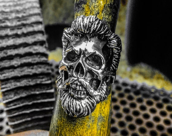 Etherial Jewelry - Rock Chic Talisman Luxury Biker Custom Handmade Artisan Pure Sterling Silver .925 Bearded Hairstyle Skull Biker Ring