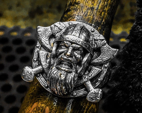 Etherial Jewelry - Rock Chic Talisman Luxury Biker Custom Handmade Artisan Pure Sterling Silver .925 Viking Warrior Odin Ring