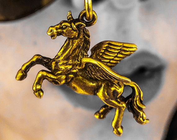 Pegasus Pendant Pegasus Necklace Winged Horse Pendant Winged Horse Necklace Equestrian handmade by Etherial using Pure Sterling Silver .925