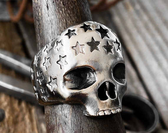Stars Skull Ring Stars Ring Stars and Skull Ring Memento Mori Ring Dia De Muertos Skull Ring made by Etherial using Pure Sterling Silver 925