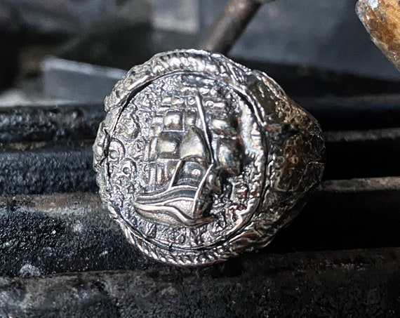 Flying Dutchman Ship Ring Ghost Ship Ring Navy Ring Pirate Ship Ring by Etherial Jewelry Luxury Rings made from Pure Sterling Silver 925